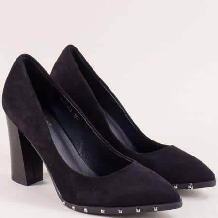 Дамски обувки на висок ток в черен цвят с капси 61192vch