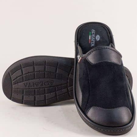 Мъжки домашни пантофи- SPESITA в черен цвят 613-45ch