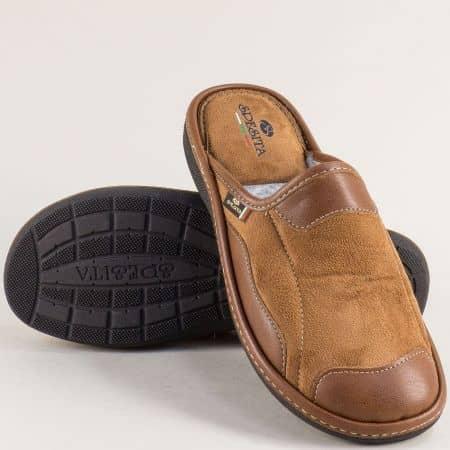 Кафяви мъжки домашни чехли на удобно ходило 613-45k