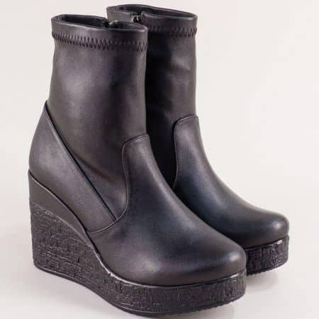 Черни дамски боти тип чорап на висока платформа 613254ch