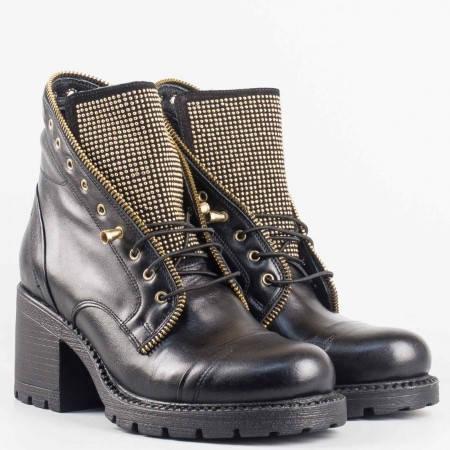 Дамски боти в стил гръндж изработени от естествена кожа в черен цвят 6149ch