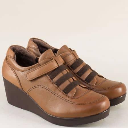Дамски обувки от естествена кожа в кафяв цвят 614k