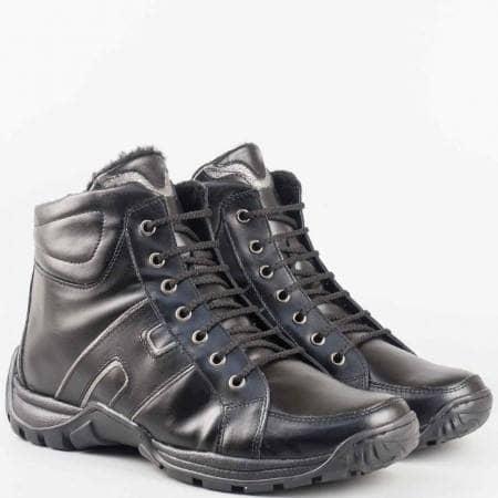 Мъжки боти със спортна визия от висококачествена естествена кожа на български производител в черен цвят 61694168ch