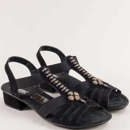 Дамски сандали на нисък ток в черен цвят- RIEKER 6206vch