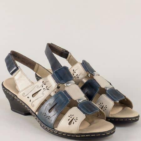 Кожени дамски сандали на среден ток в синьо и бежово 62167bj