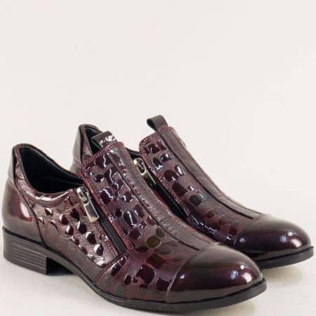 Дамски обувки от естествен лак бордо с два ципа и стелка от естествена кожа 6223krlbd