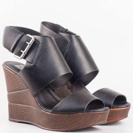 Дамски стилни сандали на удобно клин ходило в черен цвят 6252ch