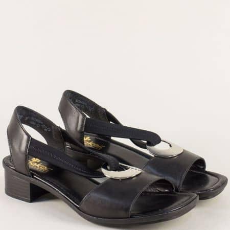 Черни дамски сандали на Antistress ходило с нисък ток 62662ach