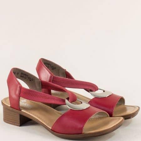Червени дамски сандали с ластик на нисък ток- Rieker 62662bd