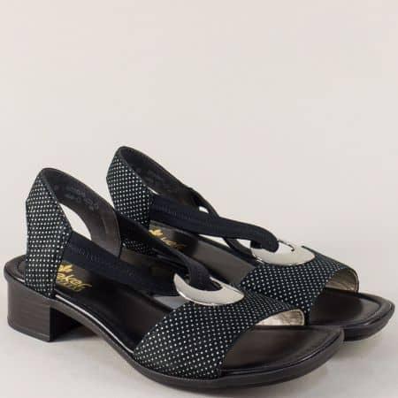 Черни дамски сандали на бели точки с v- образен ластик 62662ch