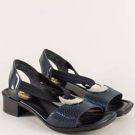 Дамски сандали с ластик на нисък ток в син цвят- Rieker 62662ls