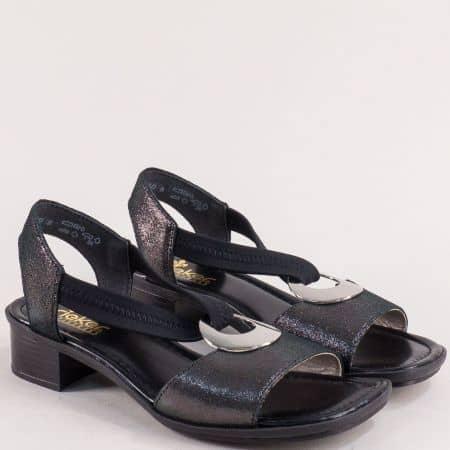 Дамски сандали с ластик на нисък ток в черен цвят- Rieker 62662sch