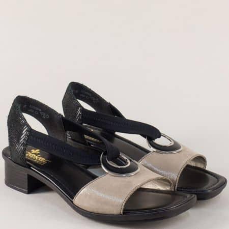 Дамски сандали Rieker в черно и бежово на нисък комфортен ток 62689ch
