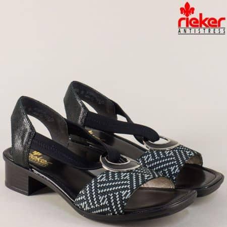 Шити дамски сандали в сиво и черно на нисък ток- Rieker 62689chps