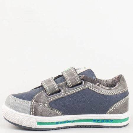 4c2ab25a021 Детски български спортни обувки с две велкро лепенки в сиво и синьо 6274s