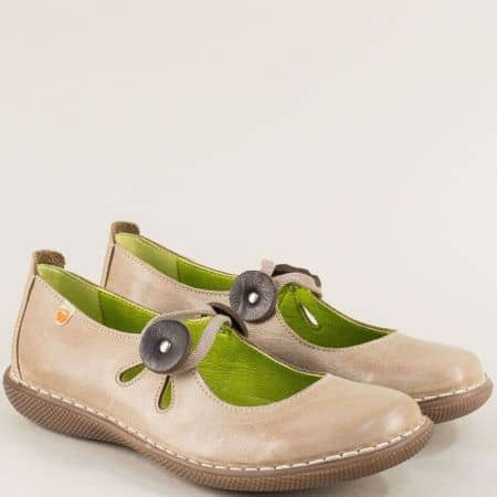 Анатомични дамски обувки от естествена кожа в сив цвят m6276sv