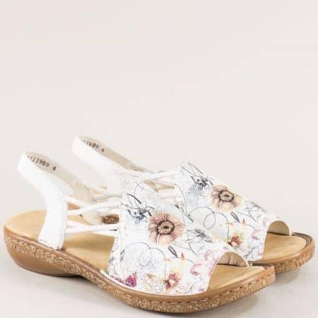 Бели дамски сандали с флорален принт и ластик- Rieker 6281bps