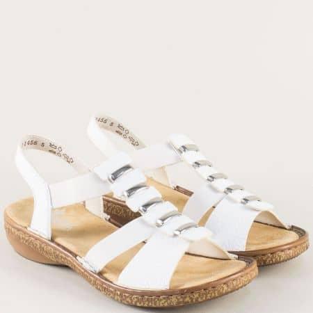 Бели дамски сандали на шито, анатомично ходило- Rieker 62850b
