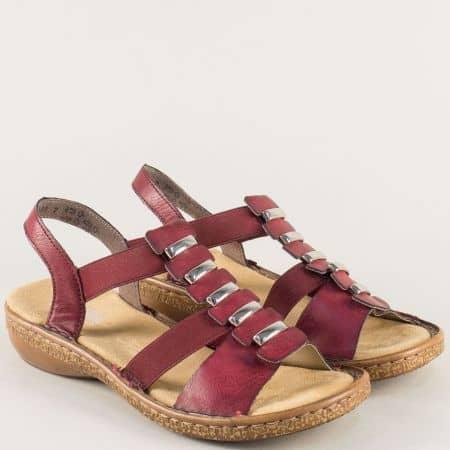 Анатомични дамски сандали в цвят бордо на шито ходило 62850bd