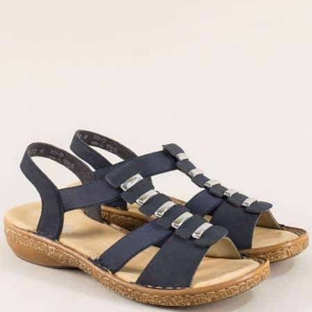 Сини дамски сандали на шито, антистрес ходило- Rieker 62850s
