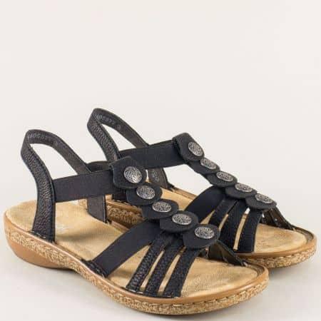 Анатомични дамски сандали с ластик в черен цвят- Rieker 62866ch
