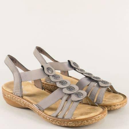 Сиви дамски сандали на анатомично ходило- Rieker 62866sv