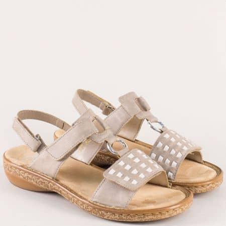 Анатомични дамски сандали в бежов цвят- Rieker 62883bj