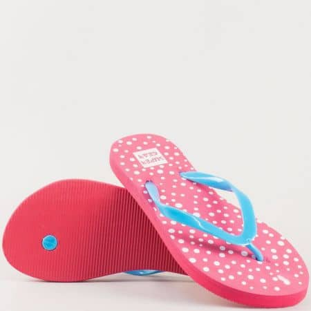 Дамски атрактивни джапанки на удобно ходило в свежа цветова комбинация от син и розов цвят 629-40rz
