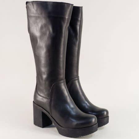 Естествена кожа дамски черни ботуши на стабилен висок ток 63051132ch