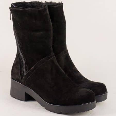 Велурени дамски боти в черен цвят на нисък ток 630vch
