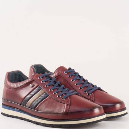 Мъжки обувки със спортно-елегантна визия и естествена кожена стелка в цвят бордо 631707bd