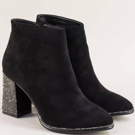 Дамски черни боти Елиза на висок ефектен ток с камъни 635112nch