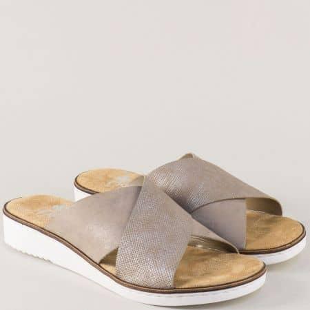 Равни дамски чехли в бежов цвят на шито ходило- Rieker  63660bj