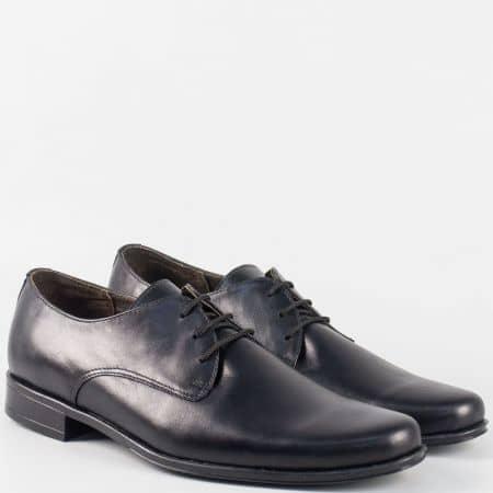 Български мъжки обувки с връзки от черна естествена кожа  636ch