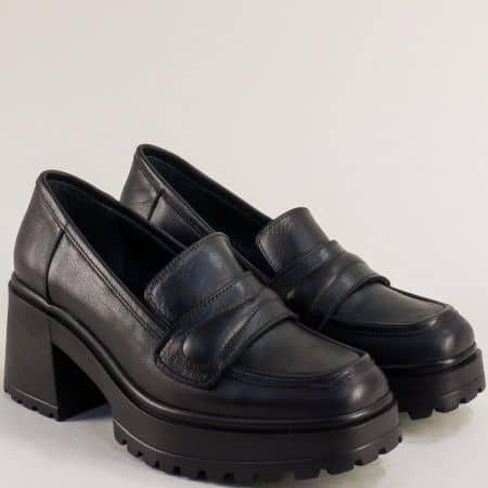 Черна дамска обувка на платформа и ток 637111ch