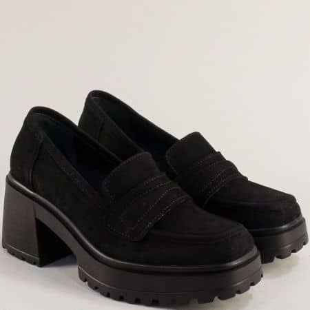 Черен велур дамска обувка на ток  637111vch