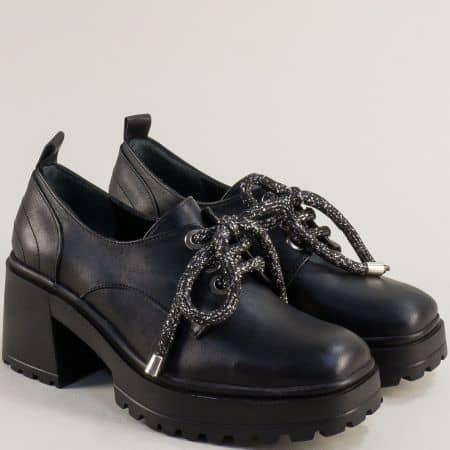 Черна дамска обувка на ток и платформа 637112ch