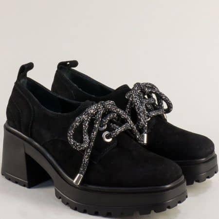 Черен велур дамска обувка на платформа 637112vch