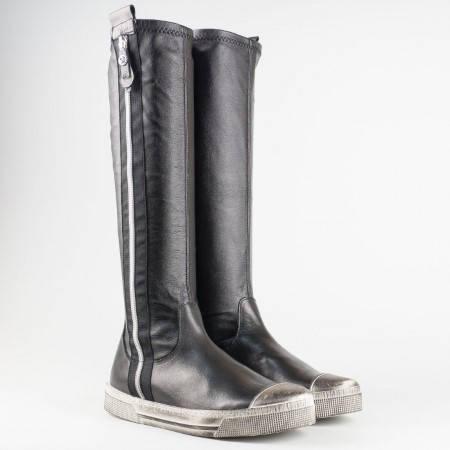 Качествени дамски ботуши от стреч материал и кожа с атрактивна визия и цип 6377ch
