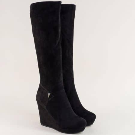 Черни дамски ботуши на платформа с декорация 639148nch