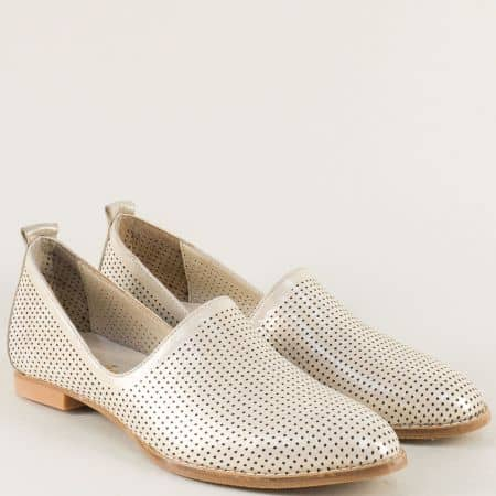 Бежови дамски обувки на равно ходило с кожена стелка 639sbj