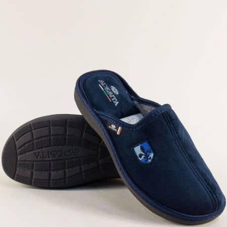 Мъжки домашни пантофи в тъмно синьо- SPESITA 640-45ts