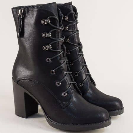 Черни дамски боти на висок ток с връзки и цип 64013sch
