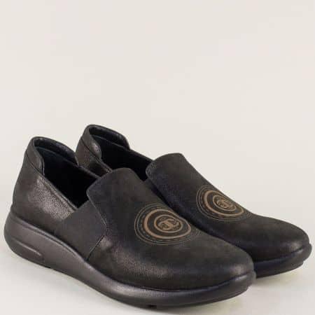 Равни дамски обувки в черен цвят с перлен блясък 641198ch