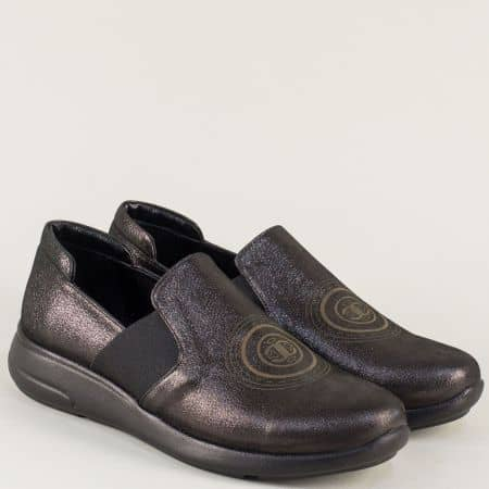 Дамски обувки на равно ходило в сив цвят с блясък 641198sv