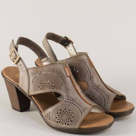 Бежови дамски сандали на висок ток с перфорация- Rieker 64151bj