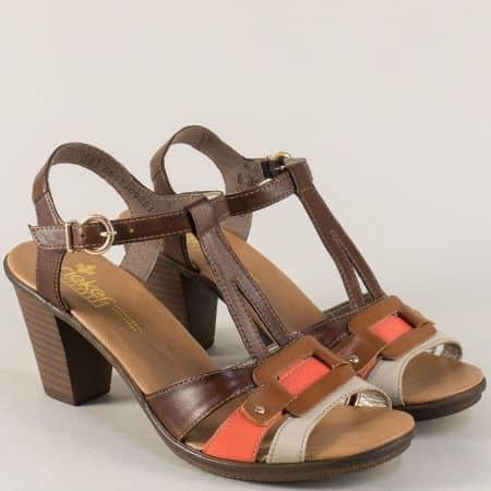 Дамски сандали на висок ток в бежово, оранж и кафяво 64178k