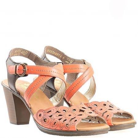 Дамски сандали с интересна иновативна перфорация на удобно ходило в оранжев цвят на известната марка Rieker 64187o