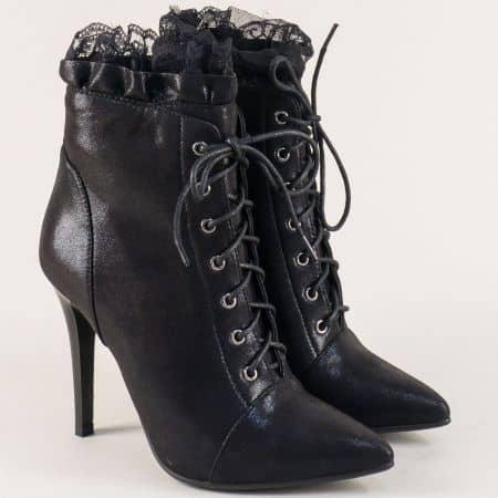 Черни дамски боти с дантела и елегантен висок ток 642122sch