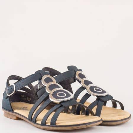 Равни дамски сандали в син цвят с метален орнамент на швейцарският производител- Rieker  64296s